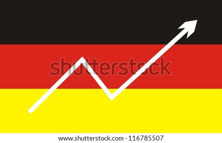 German flag with economic rising graph - stock photo
