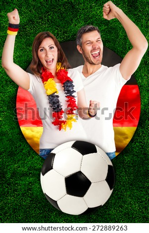 german football soccer fans happy winner - stock photo
