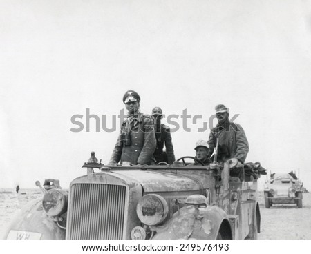 German General Rommel with the 15th Panzer Division between Tobruk and Sidi Omar. 1941 in North Africa, Libya, during World War 2. - stock photo