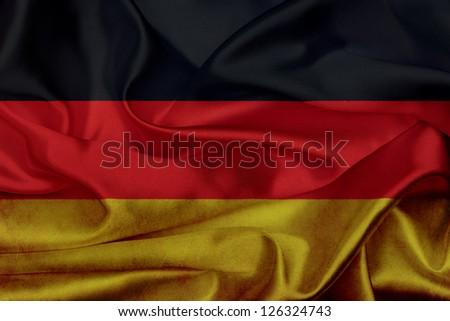 German grunge waving flag - stock photo