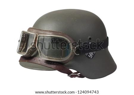 german helmet with protective goggles - stock photo