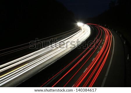 german highway at night - stock photo
