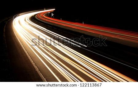 German highway by dark night - stock photo