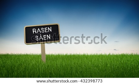 German language sow lawn text in white chalk on blackboard sign in flowing green turf grass under clear blue sky background. 3d Rendering. - stock photo