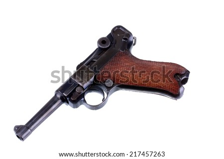 German Luger pistol isolated on a white background - stock photo