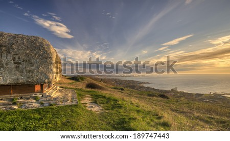 German made bunker on the top of the hill with a view on the Baltic Sea - stock photo