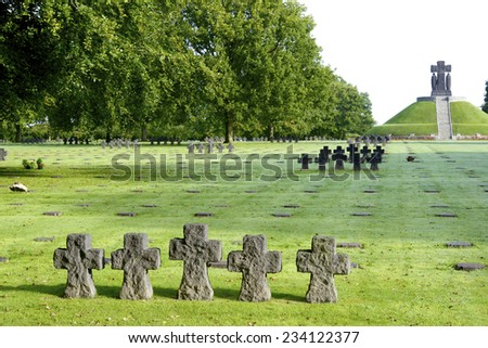 German Military Cemetery at La Cambe, Normandy, France. - stock photo