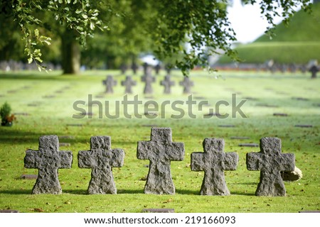 German Military Cemetery, Normandy, France. - stock photo