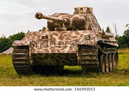 German Panther medium tank since World War II stands in a field - stock photo