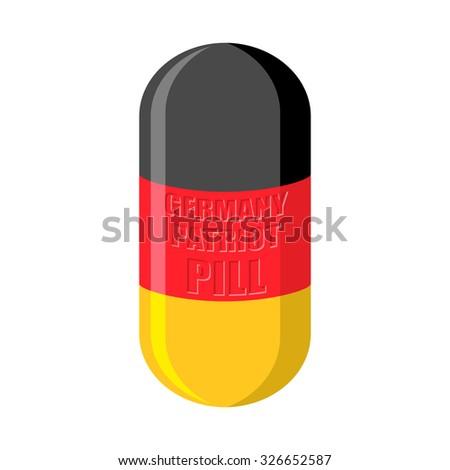 German patriotic pill. Germany Capsule flag. Medical Tablet  - stock photo