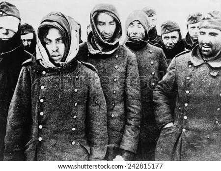 German prisoners, among the 90,000 taken by the Soviets at the end of the Battle of Stalingrad in February 1943. - stock photo