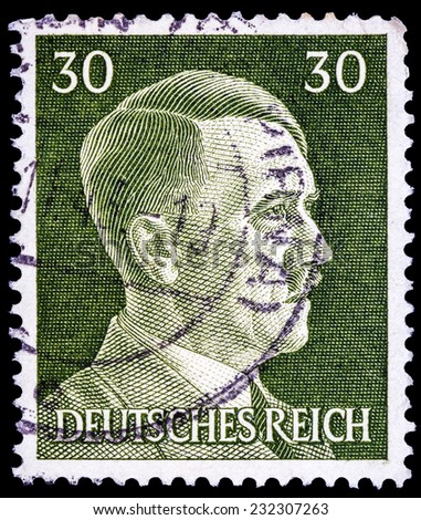 GERMAN REICH - CIRCA 1943: A stamp printed in Germany shows image of Adolf Hitler, series, 1943  - stock photo