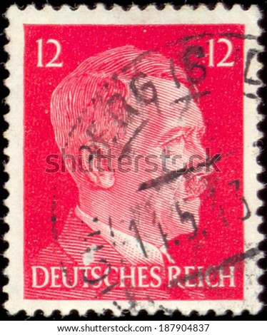 GERMAN REICH - CIRCA 1940's: A stamp printed in Germany shows portrait of Adolf Hitler (1889-1945), series, circa 1940's - stock photo