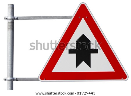 german right of way sign isolated on white with clipping path - stock photo