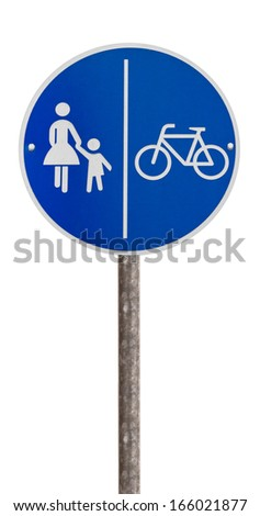 German road sign for pedestrians and cyclists who have their own lane - stock photo