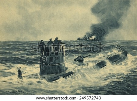 German sailors standing on the conning tower of a U-boat after torpedoing a British cargo ship. Print of 1941 painting by German marine artist Adolf Bock during World War 2. - stock photo