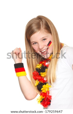 german soccer fan cheering for the german team - stock photo
