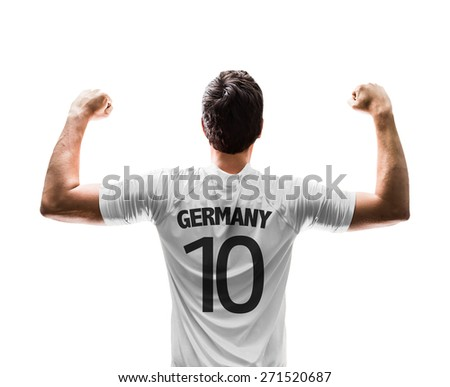German soccer player on white background - stock photo