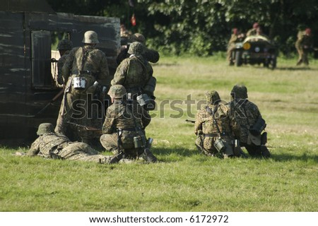 german solders taking cover - stock photo
