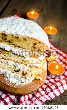 German stollen cake - stock photo