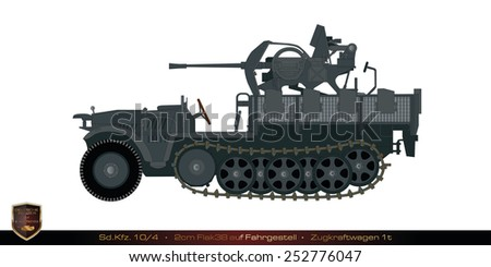 German tank from the second world war. Tank collection. Sd Kfz 10/4 - 2cm FlaK38 auf Fahrgestell - Zugkraftwagen 1t. - stock photo