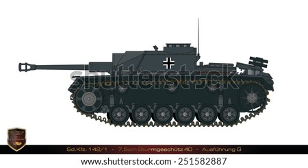 German tank from the second world war. Tank collection. Sd Kfz 142/1 - 75mm - Sturmgesch�¼tz 40 - early production. - stock photo