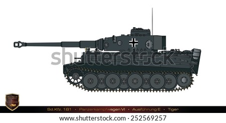 German tank from the second world war. Tank collection. Sd Kfz 181 - Panzer Kampfwagen VI - Tiger - Ausfuehrung E. - stock photo