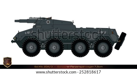 German tank from the second world war. Tank collection. Sd Kfz 234/3 - Schwerer Panzerspaehwagen 75mm. - stock photo