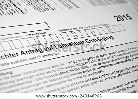 German tax form. Personal income tax form used in Germany. - stock photo