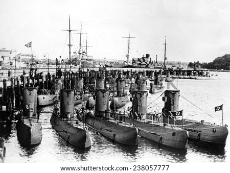 German U-boats on display for Admiral Horthy regent of Hungary guest of Hitler - stock photo