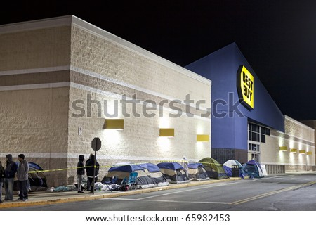 GERMANTOWN - NOVEMBER 26: Best Buy black friday shoppers start camp out at 12AM  November 26 2010, MD, 2010 in Germantown, Maryland - stock photo