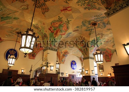 GERMANY - April 21, 2010 : Interior of the beer hall Hofbrauhaus in Munich, Germany. It is one of the biggest beer hall in Munich. - stock photo