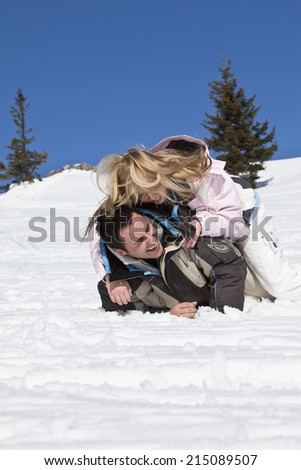 Germany, Bavaria, Couple in the snow - stock photo