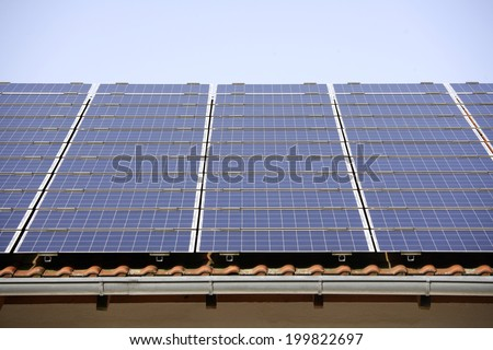 Germany, Bavaria, Schaeftlarn, Solar collectors - stock photo