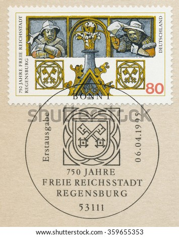 GERMANY - CIRCA 1995: A first day of issue postmark printed in Bonn, shows medieval knights, City of Regensburg, 750th Anniv., circa 1995 - stock photo