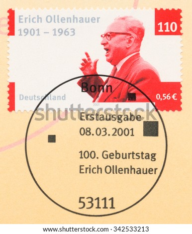 GERMANY - CIRCA 2001: A  first day of issue postmark printed in Germany, shows Erich Ollenhauer (1901-63), Politician, circa 2001 - stock photo