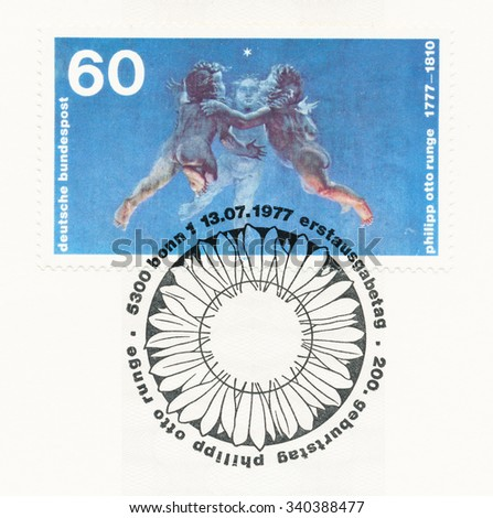 GERMANY - CIRCA 1977: A  first day of issue postmark printed in Germany, shows Morning  by Philipp Otto Runge (1777-1810), painter, circa 1977 - stock photo