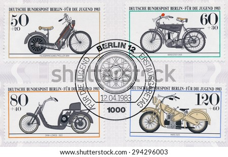 GERMANY - CIRCA 1983: A  first day of issue postmark printed in Germany, shows Motorcycle Type:  Hildebrand & Wolfmuller, 1894, Wanderer, 1908, DKW-Lomos, 1922, Mars, 1925, circa 1983 - stock photo