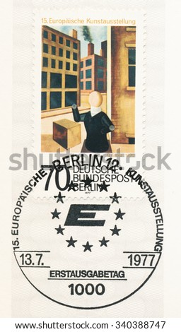 GERMANY - CIRCA 1977: A  first day of issue postmark printed in Germany, shows Painting by George Grosz (1893-1959) , 15th European Art Exhibition, Berlin, Aug. 14-Oct. 16., circa 1977 - stock photo