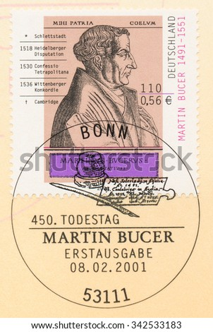 GERMANY - CIRCA 2001: A  first day of issue postmark printed in Germany, shows portrait of Martin Bucer (1491-1551), Theologian, circa 2001 - stock photo