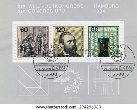 GERMANY - CIRCA 1984: A  first day of issue postmark printed in Germany, shows post and Heinrich von Stephan (1831-97) was a general post director for the German Empire, circa 1984 - stock photo