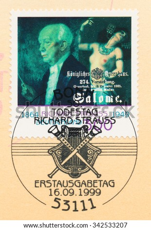 GERMANY - CIRCA 1999: A  first day of issue postmark printed in Germany, shows Richard Strauss (1864-1949), Composer and Salome dancing, circa 1999 - stock photo
