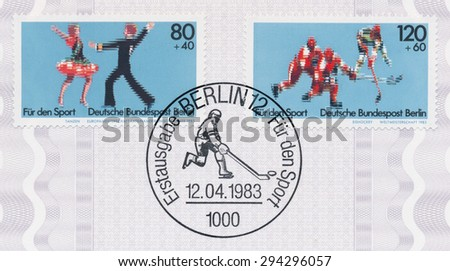GERMANY - CIRCA 1983: A  first day of issue postmark printed in Germany, shows Sports: European Latin American Dance Championship, World Hockey Championship, circa 1983 - stock photo