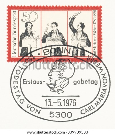 GERMANY - CIRCA 1976: A  first day of issue postmark printed in Germany, shows Weber Conducting Freischutz in Covent Garden, Carl Maria von Weber (1786-1826), composer, 150th death anniv., circa 1976 - stock photo
