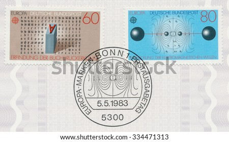 GERMANY - CIRCA 1983: A post stamp printed in Germany shows Printing press by Johannes Guttenburg and Electromagnetic waves by Heinrich Hertz, series Discoveries, circa 1983 - stock photo