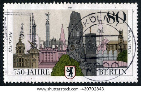 GERMANY - CIRCA 1987: A stamp printed by Germany, shows city, Europe, Berlin city, circa 1987 - stock photo