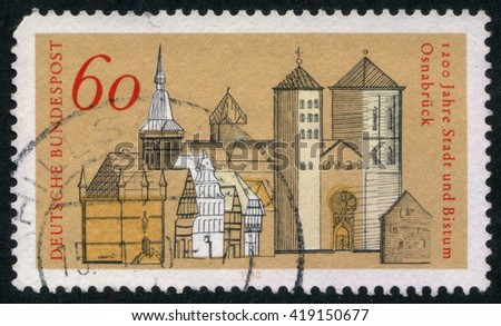 GERMANY - CIRCA 1980: A stamp printed by Germany, shows city, Europe, medieval city, circa 1980 - stock photo