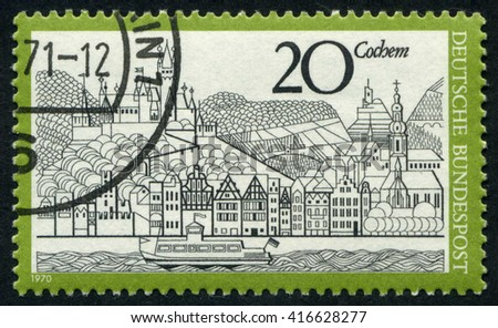 GERMANY - CIRCA 1970: A stamp printed by Germany, shows city, Europe, medieval city, Gothic, circa 1970 - stock photo