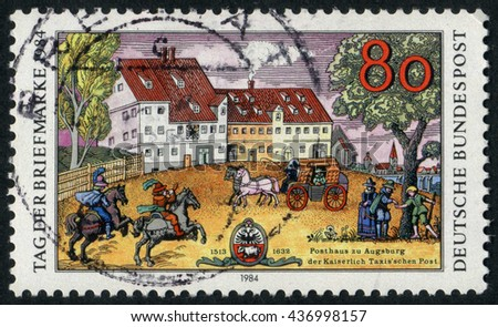 GERMANY - CIRCA 1984: A stamp printed by Germany, shows city, vintage Europe, city, circa 1984  - stock photo