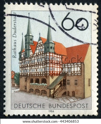 GERMANY - CIRCA 1984: A stamp printed by Germany, shows, Europe, medieval architecture circa 1984 - stock photo